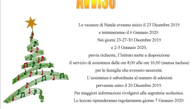 Avviso Vacanze di Natale