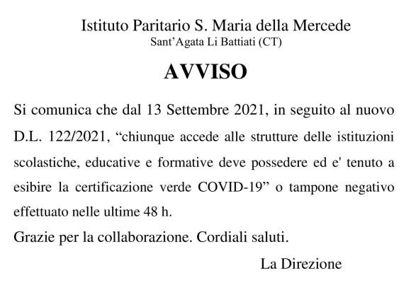 Avviso D.L. 122/2021
